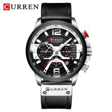 Часы CURREN Мужские, спортивные, кварцевые с кожаным ремешком, водонепроницаемые(Китай)
