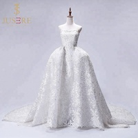 Luxury Lace Beaded Detachable Skirt Strapless Turkey Dubai Ball Gown Wedding Dress