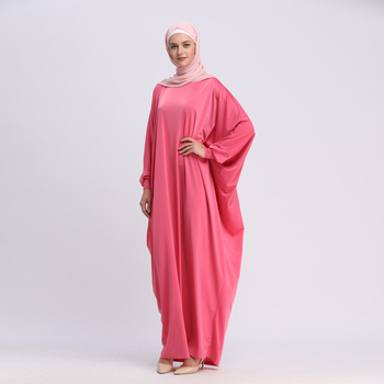 2019 Newest Islamic Collection Women Plus Size Thick Jersey Dubai Kaftan Muslim Dress