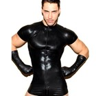 Black Sexy Leather Mesh Male T-shirt Shorts Jumpsuit One-piece Bondage Tops SM Bodywear Top Club Gay Lingerie For Men