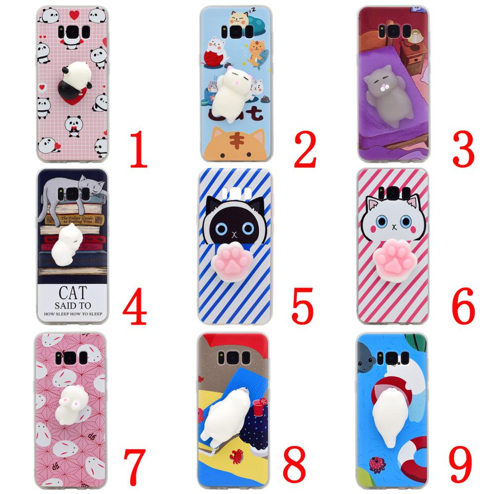 Hot Sale 2017 Cute Cat Squishy 3D Sublimation Tpu Case Silicone Soft Cartoon Mobile Phone Cover For Samsung Galaxy S8