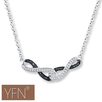 Two Infinity Symbols 925 Sterling Silver Contemporary Necklace For