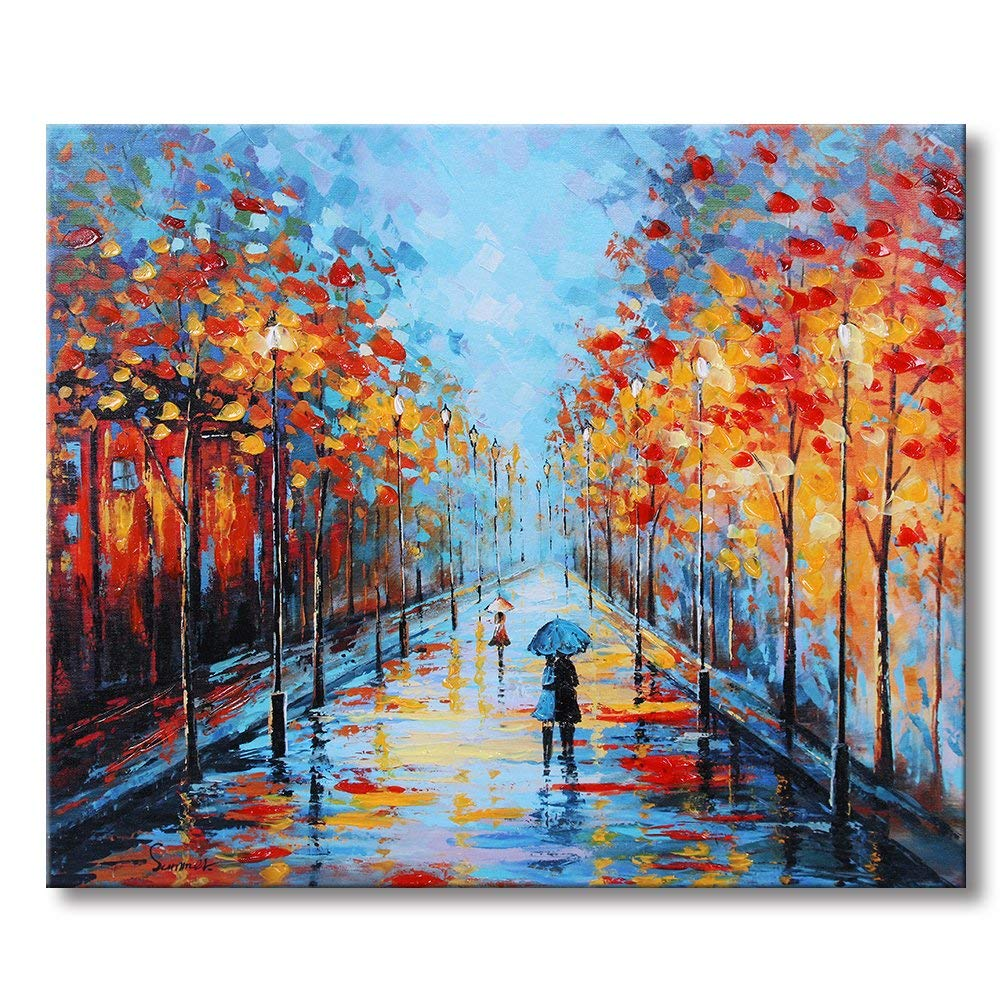 Sumeru Tree Canvas Paintings Wall Art Pictures Abstract Rainy Artworks for Home Living Bedroom Office Decoration,1 Piece, 20x24 inch, Stretched and Framed