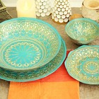blue color with gold decorative glass charger plate