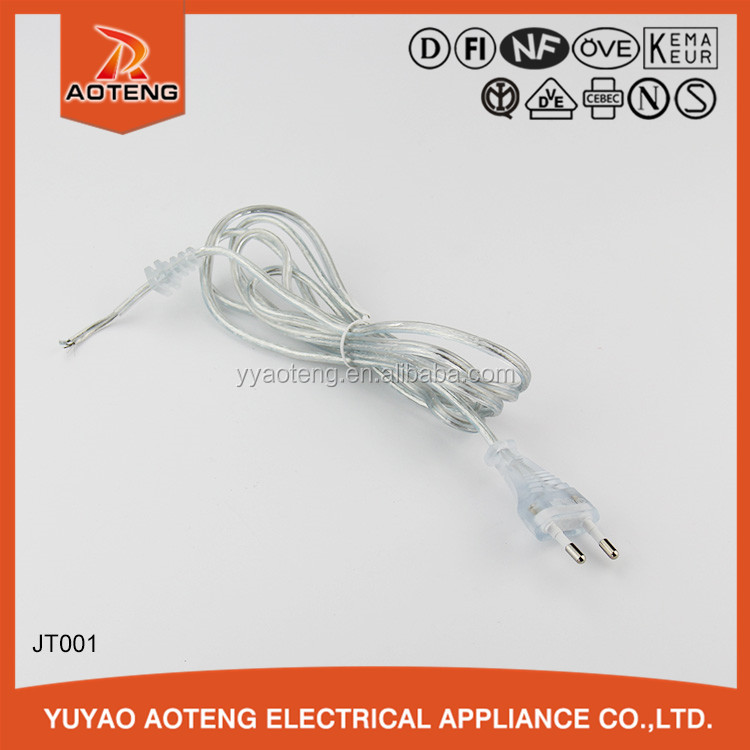 VDE two core H03VVH2-F 2X0.75mm2 2.5a 250v transparent flat electric wire