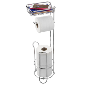 Bathroom accessories free standing chrome toilet paper roll holder with phone storage