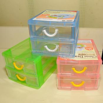 2 Layers Small Plastic Storage Box Drawer
