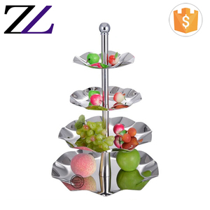 Buffet catering wedding decoration dessert etagere stands stainless steel oem metal 4 tier high tea cake fruit display stands