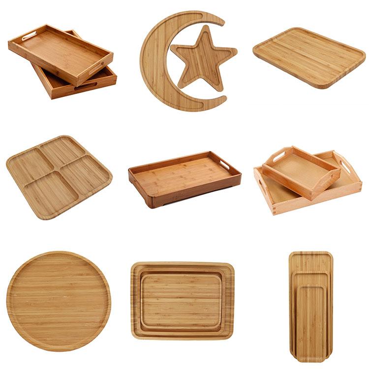 Fábrica de atacado de Luxo sólido durável OAK Madeira Pequeno Almoço de madeira pequena bandeja retângulo bandeja de servir