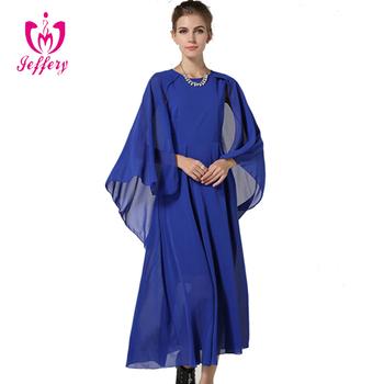 Floor Length Chiffon Evening Dress Cape Sleeve Muslim Las Long Party Wear Gown