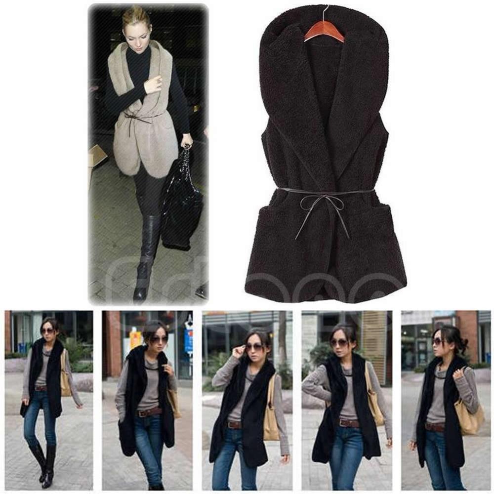 Женщины балахон длинная жилет без рукавов куртка искусственного овчина пальто жилет верхняя одежда - S127