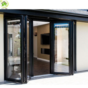 Dark Grey Aluminum Frame 6 Panel Tinted Glass Folding Bi Fold Door