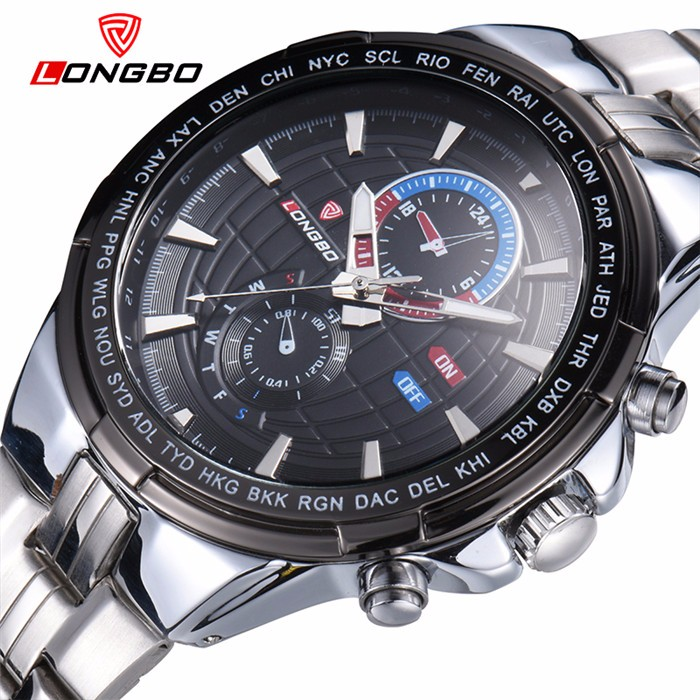 LongBo swissing made watch stainless steel quartz movement watches