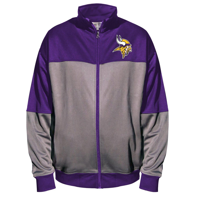 NFL Minnesota Vikings Unisex Poly Fleece Track Jacket, Char/Purple, 5X