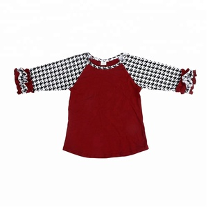 Boutique wholesale New raglan tops girl t-shirts kids shepherd check t-shirt Ruffles cotton t-shirt for little girls