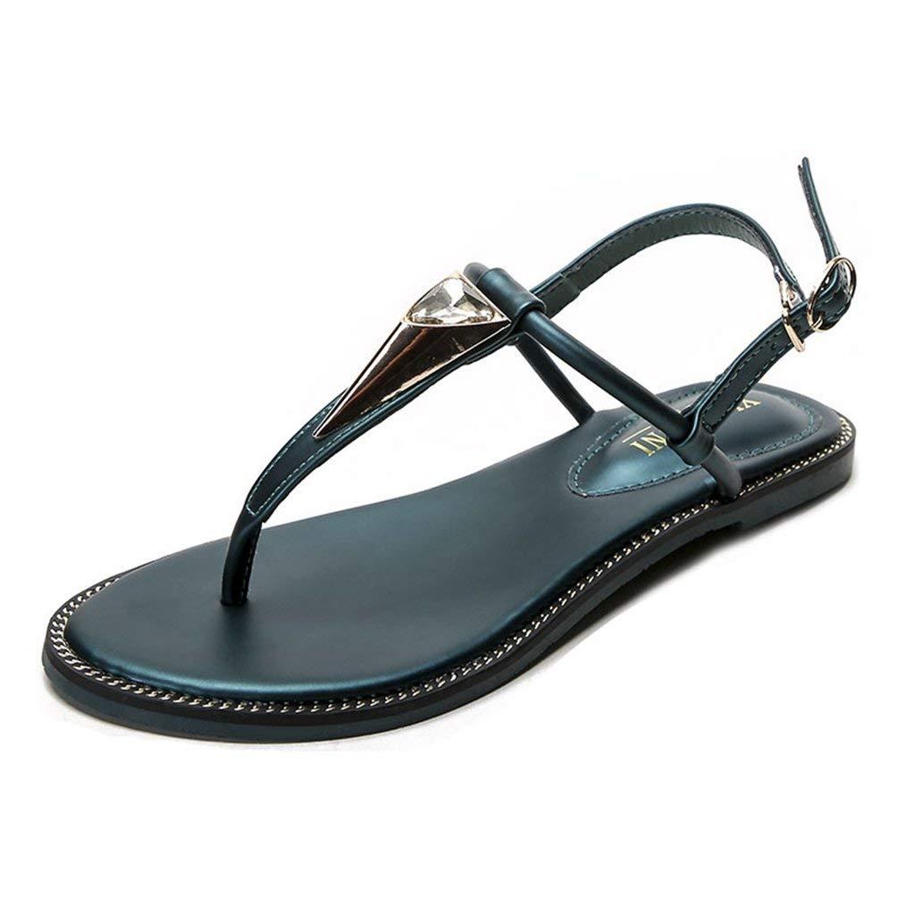 971e758ebb225 GIY Women s Flat Sandals T-Strap Rhinestone Strappy Gladiator Sandal Clip  Toe Flip Flop Casual