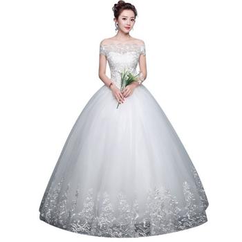 1d6129e500727 2019 Latest Vestidos De Novia Hemline Off Shoulder Cheap White Wedding  Dress Bridal Ball Gown - Buy Ball Gown Wedding Dresses With Cap  Sleeves,Wedding ...