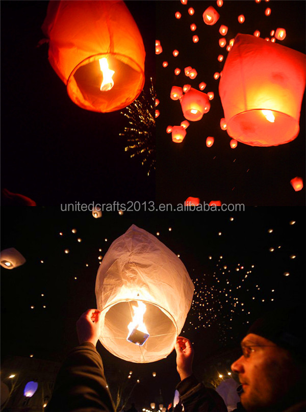 Sky Lanterns Paper Fire Candle Wish Wedding Flying Party Lamp Multi Color