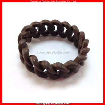 Coffee Color Silicone Chain Link Bracelet Myd 2111