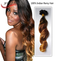 Hot sale long curly 100% Peruvian human hair two tone clip in hair extension