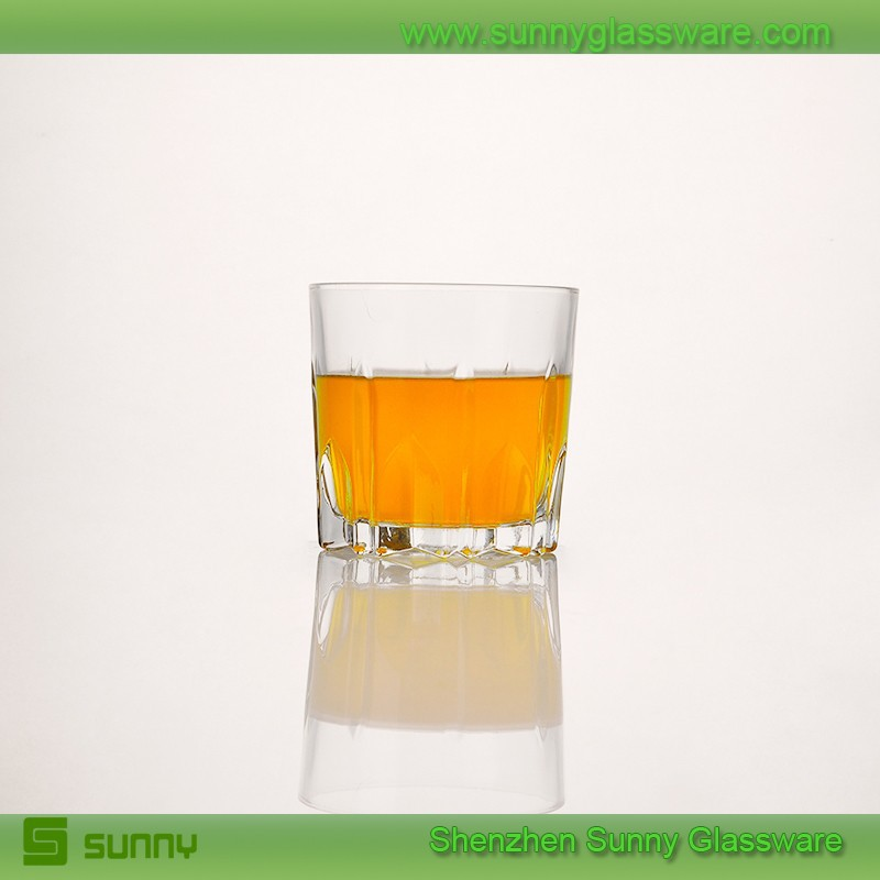 2015 Promotion orange glass shot cup with high white glass