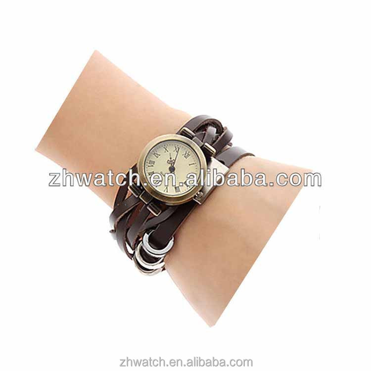 2013 fashionable lady retro vintage nostalgia classic leather fabric watch straps bracelet watch mult-strand women watch beauty