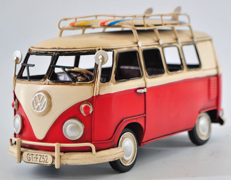 Classic vintage red decorative vw bus combi van model from