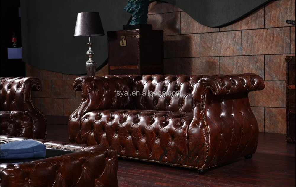 Antique leisure luxury european style imported leather sofa chesterfield
