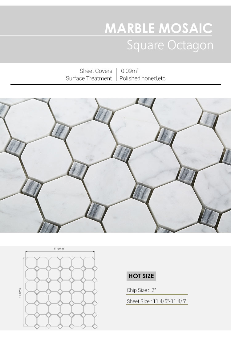 Century Square Octagon Decorative Marble Mosaic Wall Tile