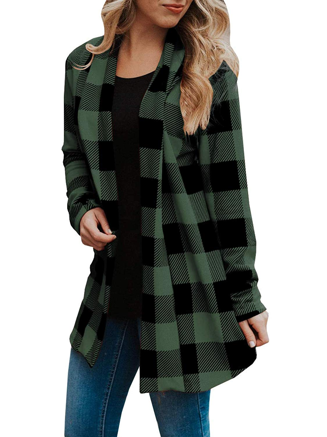 08acdc8e697 Kathemoi Buffalo Plaid Cardigans Womens Causal Fall Elbow Patch Open Front Cardigan  Sweater