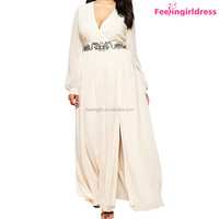 No MOQ Plus Size Women White Long Sleeve Elegant Maxi Dress Hot