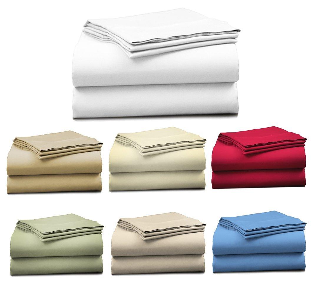 "Bonne Nuit 400 Thread Count Hotel Collection Luxury Bedding Bed Sheets Super Sale 100% Cotton Sateen - 17"" Deep Pocket Wrinkle Resistant Sheet Set-King Size Solid White Color"