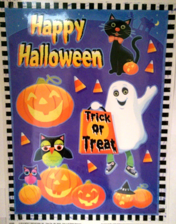 buy halloween window clings owls, happy halloween, cat, ghost