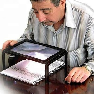 Folding 3X Hands Free Full Page Magnifier With 4LED Lighting Desk Type Magnifying Glass For Old People