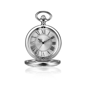 Vintage watch large face silver metal wholesale quartz movt stainless steel back japan movt pocket watch