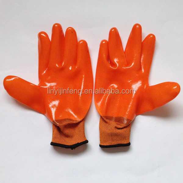 new brand 2017 safety Glove 13gauge polyester liner pvc gloves with high quality