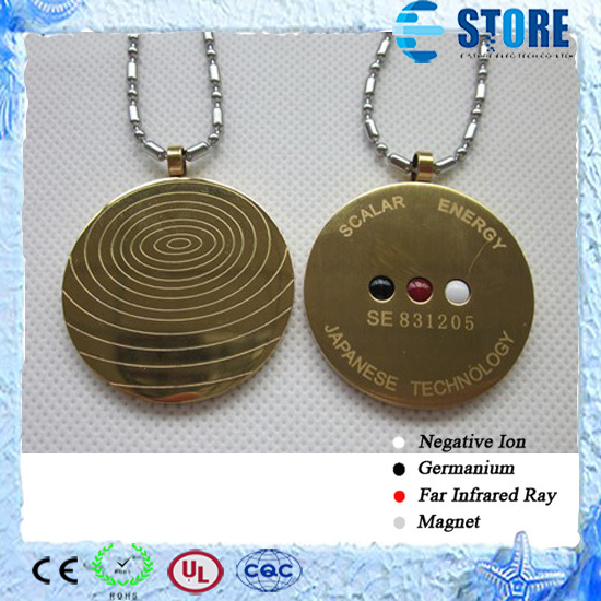 Scalar Energy Gold Plated Stainless Steel Pendant With Germanium Far Infrared Negative Ion Stone