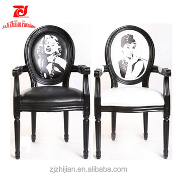 chaise medaillon marilyn monroe noir mat baroque shabby. Black Bedroom Furniture Sets. Home Design Ideas
