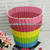 Small novelty willow folding laundry basket with handle