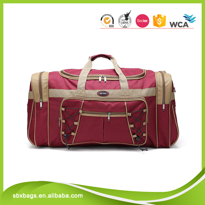 Fashion Red Colour 600D Polyester Travel Duffle Bag Wholesale China Supplier Weekender Sports Duffle Bag