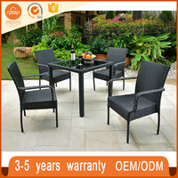 In Stock Space Saving Glass Top Rattan Outdoor Upscale Dining Room Sets Table And Chair Used For Restaurant