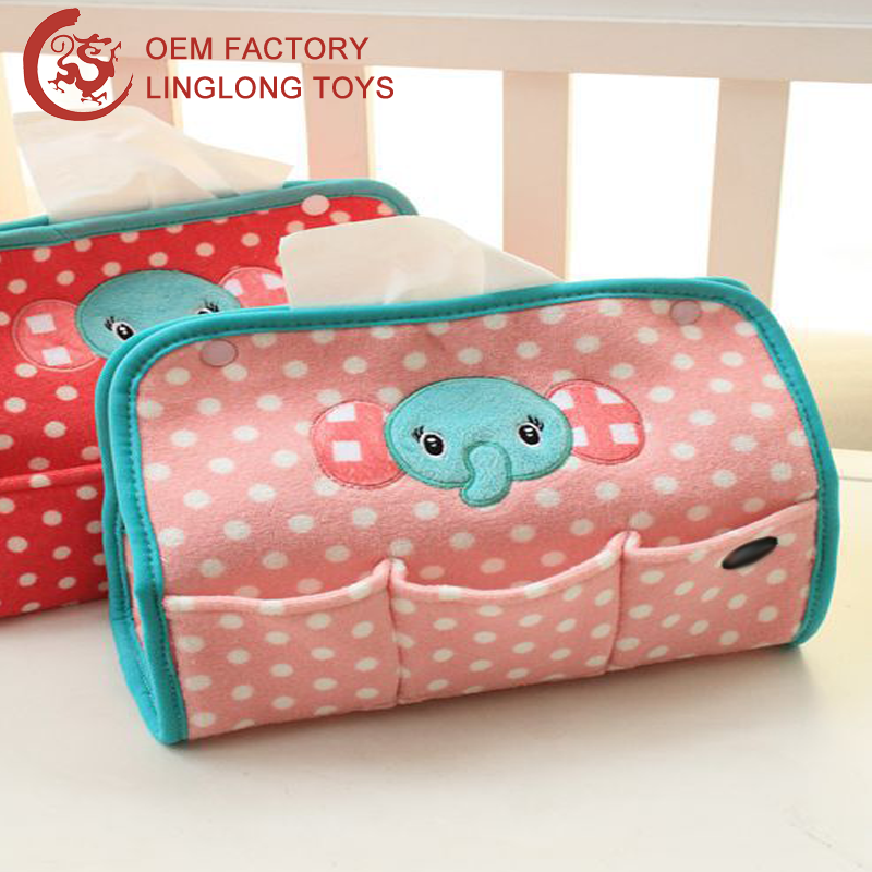 guangdong factory plush rectangle tissue cover pink animal pattern tissue box stuffed elephant paper cover