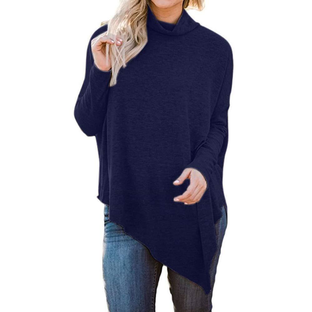 POTO Sweatshirt,Women Casual Turtleneck Hem Tunic Blouse T Shirts Long Batwing Sleeve Pullover Sweatshirt Tops