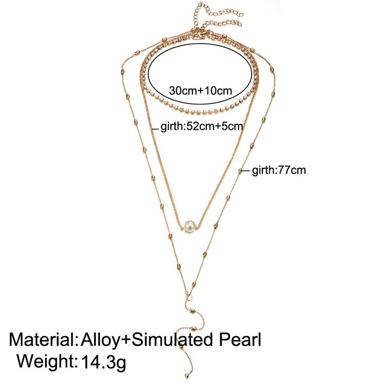 2018 New Hot Sell Female Elegant Style Beautiful Three Layer Pearl Crystal Beaded Pendant Gold Thin Chain Necklace For Bridal