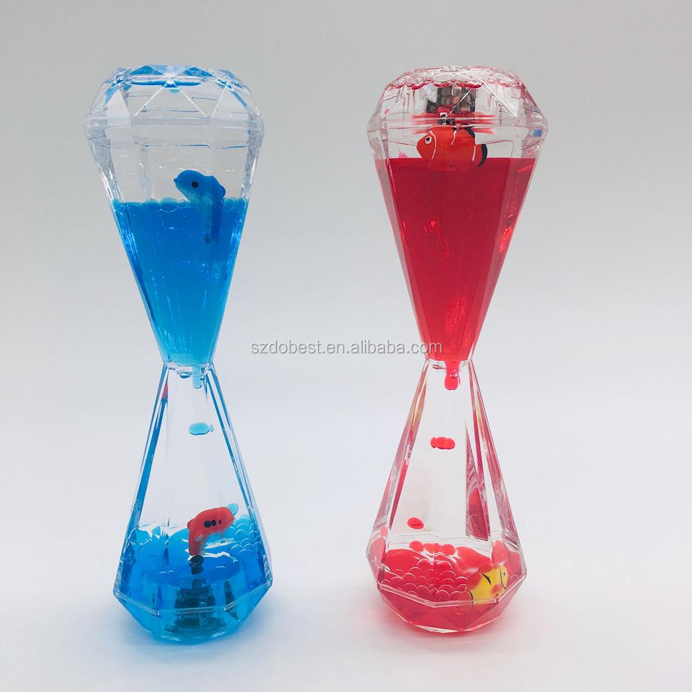 Fashional LED Luz Roxo Ampulheta Líquido com Floater 3D