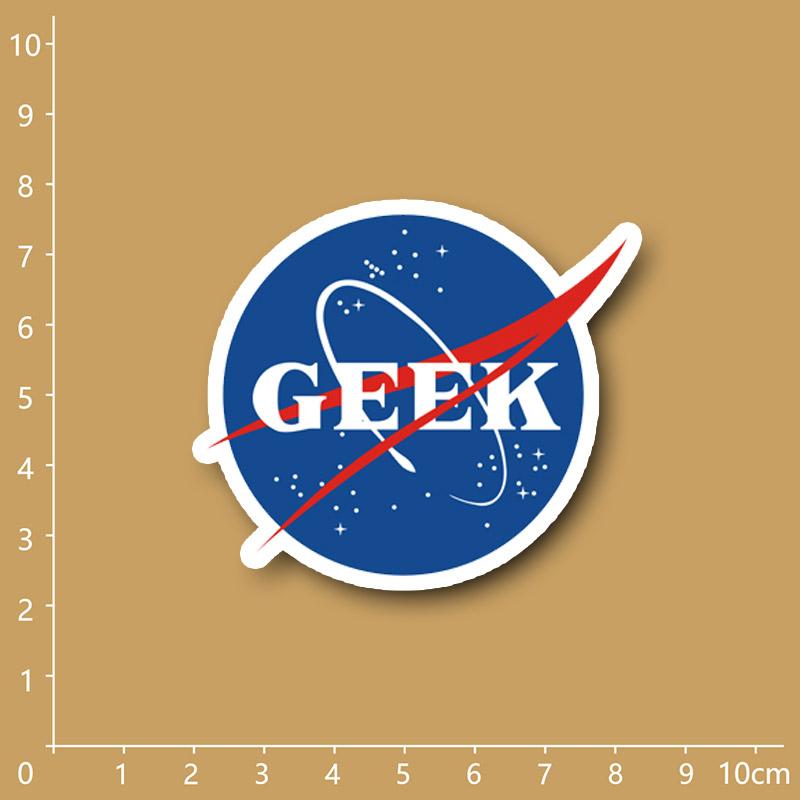 NASA GEEK funny Notebook refrigerator skateboard trolley case backpack Tables book PVC sticker