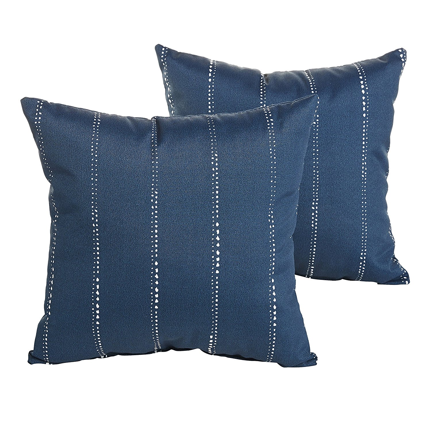 Mozaic Company Perry Navy Dotted Stripes Indoor/ Outdoor 18 inch Pillow Set