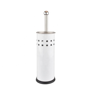 Round Shape Standing Steel Toilet Brush Stainless Steel Bathroom Toilet Brush Holder with Brush