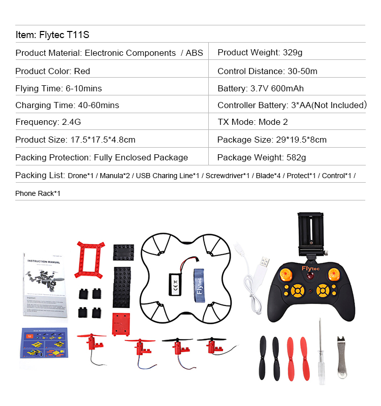 8. T11S_Red_WIFI_FPV_DIY_Building_Blocks_Drone_with_0.3MP_Camera_RC_Drone