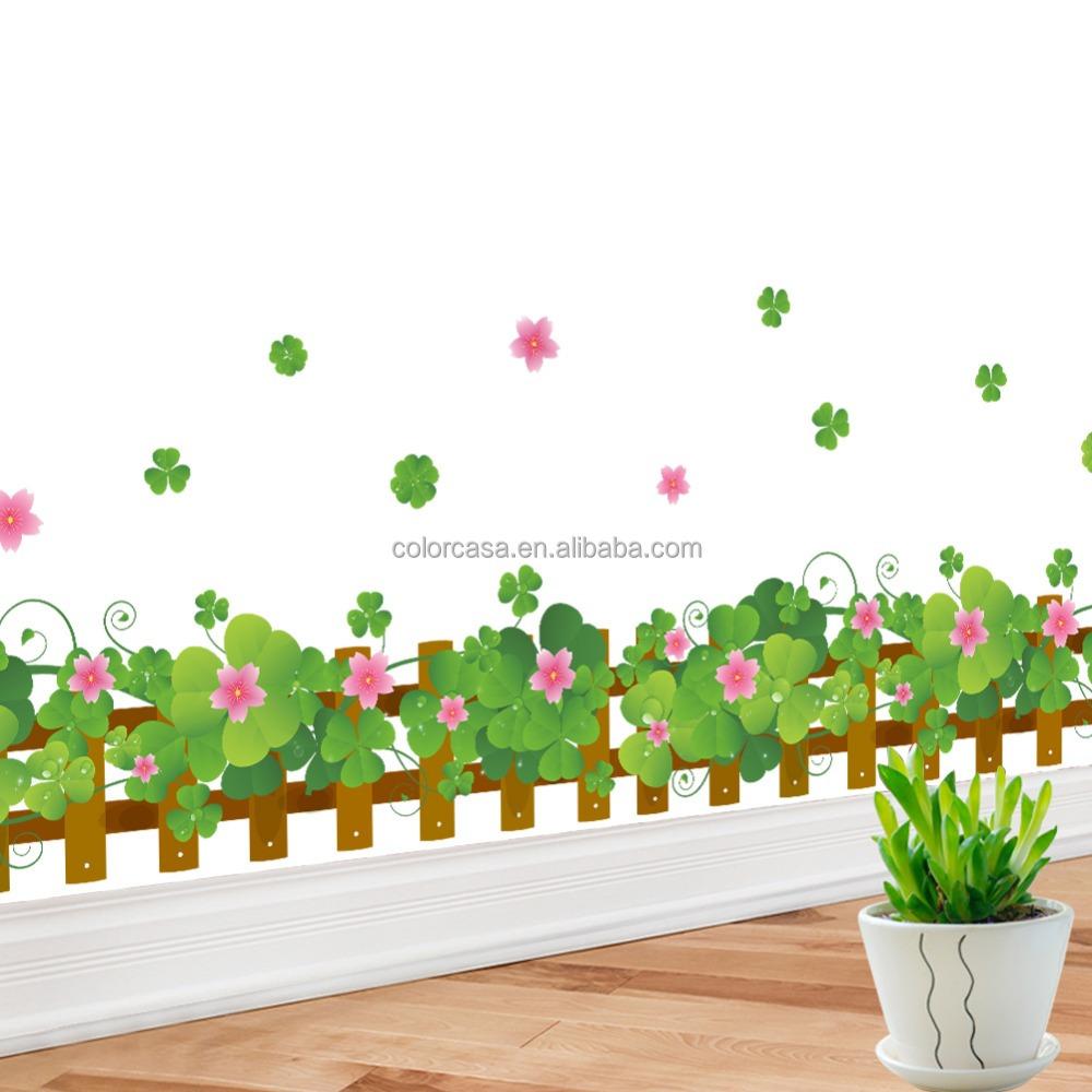Astounding Wandtattoo Gras Ideen Von Colorcasazypa-062-n Glück Wandaufkleber Blume Zaun Dekoration Wasserdicht